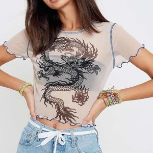 Urban Outfitters 90s Dragon Print Mesh Crop Top XS
